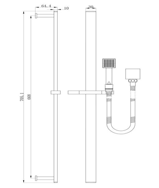 Shower Rail square specs